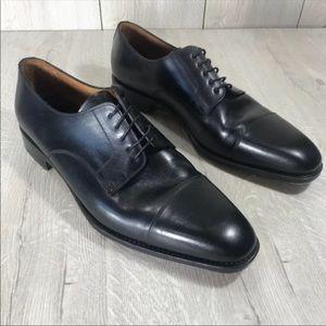 YANKO Black Leather Cosido Goodyear Oxford toe cap